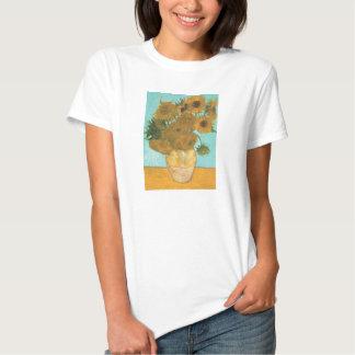 Florero con 12 girasoles por la flor del vintage tee shirts