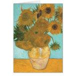 Florero con 12 girasoles por la flor del vintage tarjeta