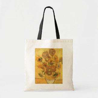 Florero con 15 girasoles por la flor del vintage bolsa de mano