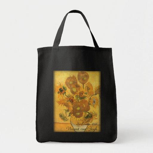 Florero con 15 girasoles por la flor del vintage bolsa tela para la compra