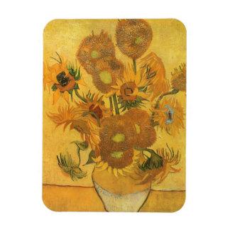 Florero con 15 girasoles por la flor del vintage iman flexible