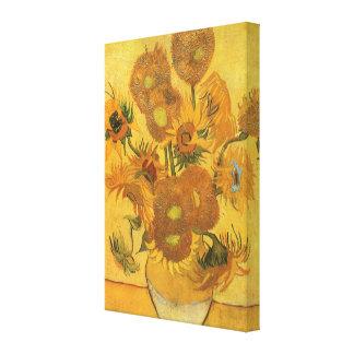 Florero con 15 girasoles por la flor del vintage impresiones en lienzo estiradas