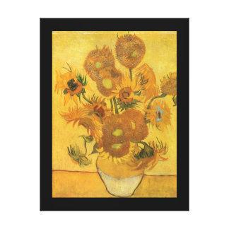 Florero con 15 girasoles por la flor del vintage impresion de lienzo