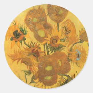 Florero con 15 girasoles por la flor del vintage etiqueta redonda