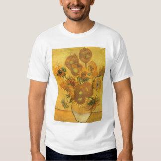 Florero con 15 girasoles por la flor del vintage playeras