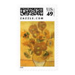 Florero con 15 girasoles por la flor del vintage sellos