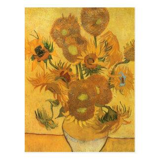Florero con 15 girasoles por la flor del vintage postal