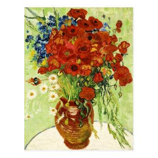 Florero con Cornflowers y la postal de las