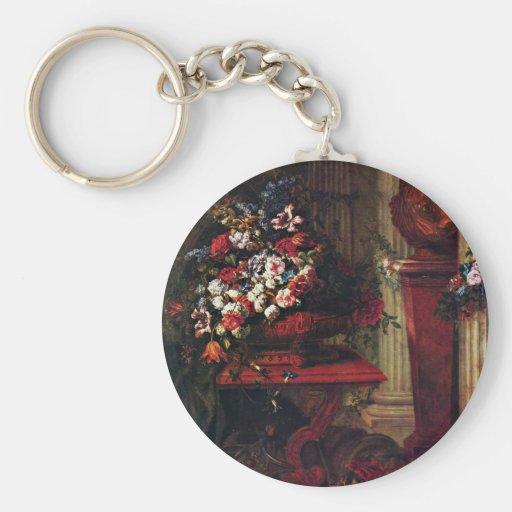 Florero con del flor y de bronce de Louis Xiv el Llavero Redondo Tipo Pin