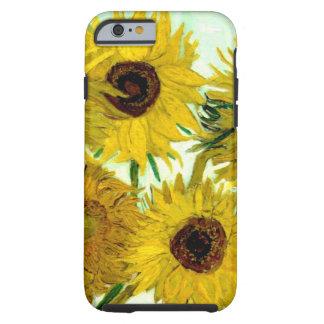 Florero con doce girasoles, bella arte de Van Gogh Funda Para iPhone 6 Tough