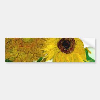 Florero con doce girasoles, bella arte de Van Gogh Pegatina Para Auto