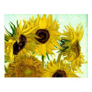 Florero con doce girasoles, bella arte de Van Gogh Postales