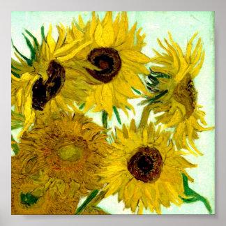 Florero con doce girasoles, bella arte de Van Gogh Póster