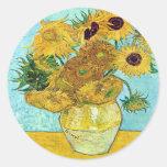 Florero con doce girasoles de Vincent van Gogh Pegatina Redonda