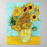 Florero con doce girasoles de Vincent van Gogh Póster