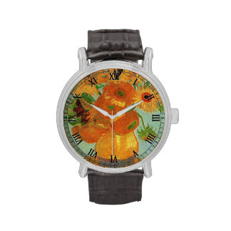 Florero con el girasol doce de Vincent van Gogh. Relojes De Pulsera