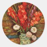 Florero con Gladiolideutsch rojo: Todavía vida con Etiqueta Redonda