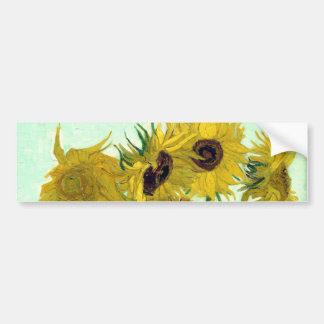 Florero con la bella arte de Van Gogh de doce Pegatina Para Auto