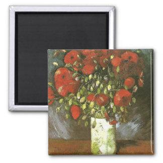 Florero con la bella arte roja de Van Gogh de las Imán Cuadrado