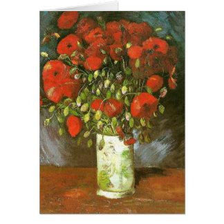Florero con la bella arte roja de Van Gogh de las Tarjeta Pequeña