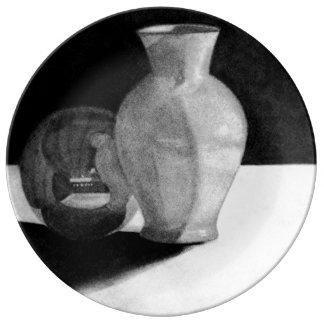 Florero con la esfera plato de cerámica