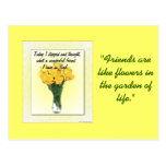Florero con la postal de los narcisos