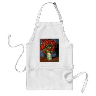 Florero con las amapolas rojas, arte de Van Gogh Delantal