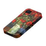 Florero con las amapolas rojas, arte de Van Gogh iPhone 4 Carcasas