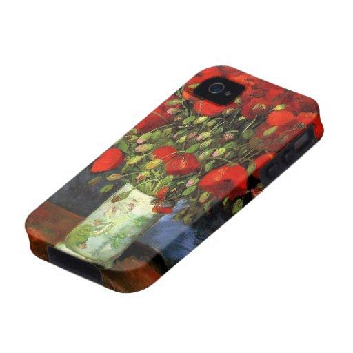Florero con las amapolas rojas, arte de Van Gogh Case-Mate iPhone 4 Fundas