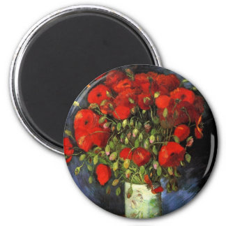 Florero con las amapolas rojas, arte de Van Gogh Imán Redondo 5 Cm