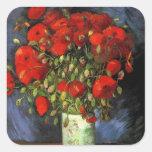 Florero con las amapolas rojas, arte de Van Gogh Colcomanias Cuadradas
