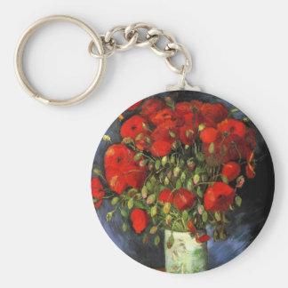 Florero con las amapolas rojas, bella arte de Van Llavero Redondo Tipo Pin