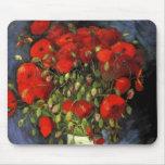 Florero con las amapolas rojas, bella arte de Van Tapetes De Ratón