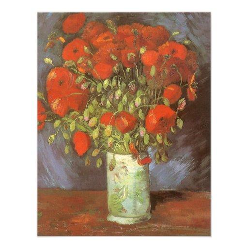Florero con las amapolas rojas de Van Gogh, flores Comunicados Personales