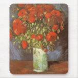 Florero con las amapolas rojas de Vincent van Gogh Alfombrillas De Ratones