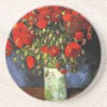 Florero con las amapolas rojas de Vincent van Gogh Posavasos Para Bebidas