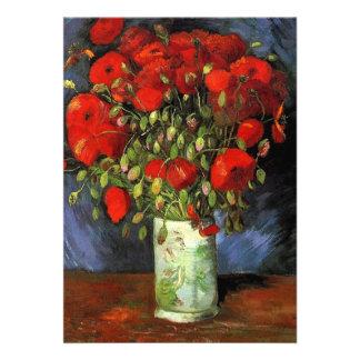 Florero con las amapolas rojas Vincent van Gogh. Invitacion Personalizada