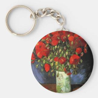 Florero con las amapolas rojas Vincent van Gogh Llavero Redondo Tipo Pin