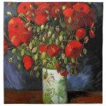 Florero con las amapolas rojas Vincent van Gogh Servilleta