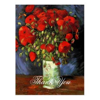 Florero con las amapolas rojas Vincent van Gogh. Tarjetas Postales
