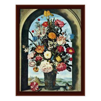 Florero con las flores en una ventana. Encontrado, Tarjetas Postales