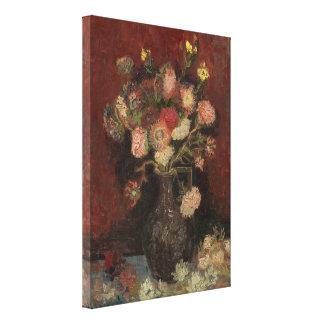 Florero con los asteres y los gladiolos chinos de