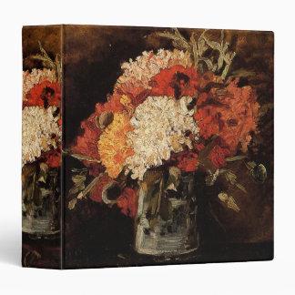 """Florero con los claveles, bella arte de Van Gogh Carpeta 1 1/2"""""""