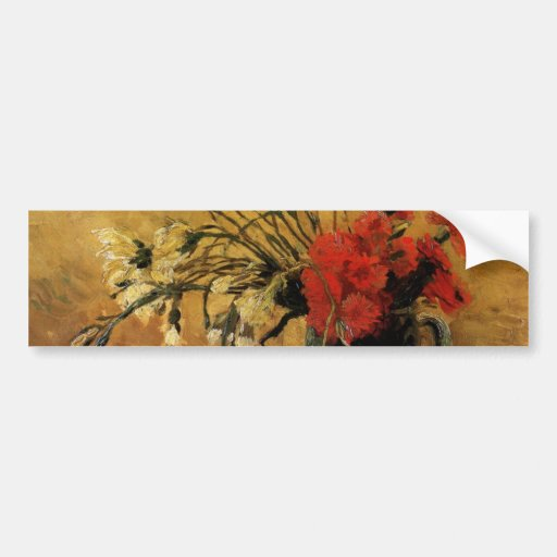 Florero con los claveles rojos y blancos - Van Gog Pegatina De Parachoque