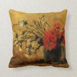 Florero con los claveles rojos y blancos, Van Gogh Cojin