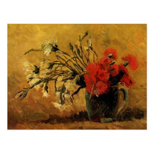 florero con los claveles rojos y blancos, Van Gogh Postal