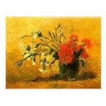 Florero con los claveles rojos y blancos, Van Gogh Tarjetas Postales