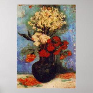florero con los claveles y otras flores Van Gogh Impresiones