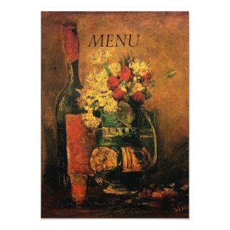 """florero con los claveles y rosas y una botella invitación 5"""" x 7"""""""