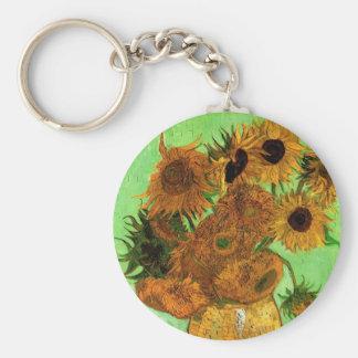 Florero con los girasoles, bella arte floral de llavero redondo tipo pin